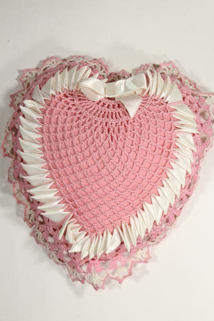 Valentine pink heart shaped pillow or wedding ring bearer pillow, vintage crochet lace