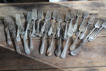 Victorian / Edwardian vintage silver plate flatware, shabby antique forks different patterns