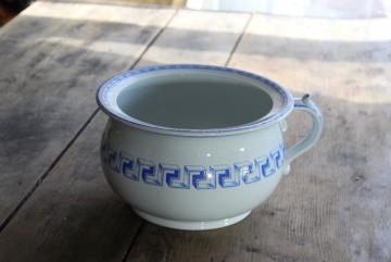 Victorian England chamber pot, antique blue & white Maltese Greek key pattern china