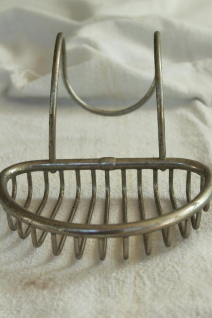 Victorian antique wire soap dish, soap holder to hang on farmhouse sink or claw foot tub