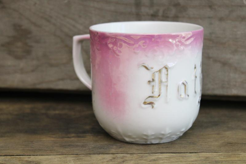 Victorian era antique china gift cup made in Germany, Mother in gold letters