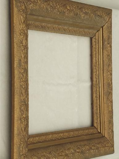 Victorian gold wood picture frame, large antique photo portrait frame