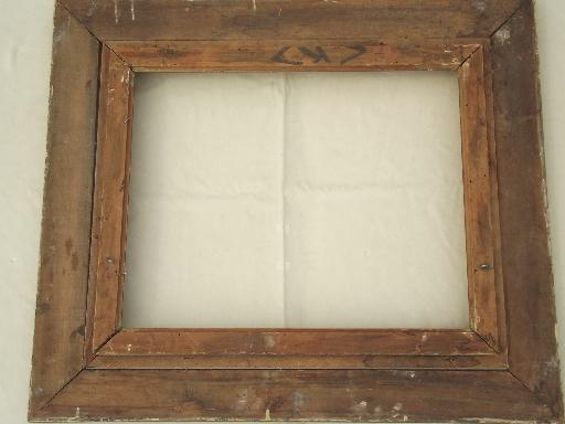 Victorian gold wood picture frame, large antique photo portrait frame