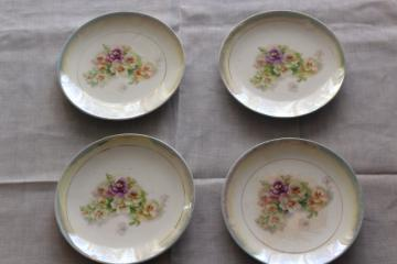 Victorian pansy floral shabby antique china plates w/ pansies, late 1800s vintage