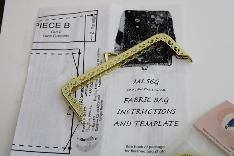 Victorian style metal clasp purse frames, Bucilla silk ribbon embroidery bag kit