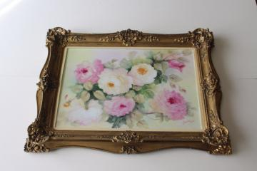 Victorian style vintage ornate gold frame w/ hand painted old roses china picture