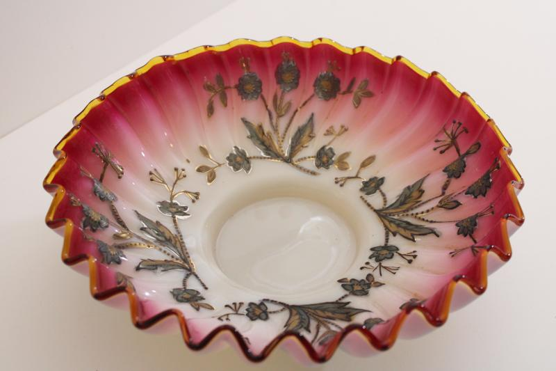 Victorian vintage antique peachblow glass bride's basket bowl w/ hand painted gold enamel