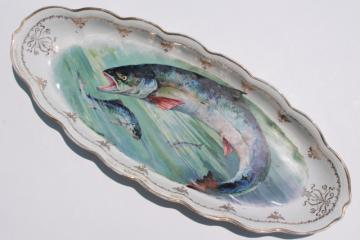 Victorian vintage long oval serving platter w/ painted fish, antique Sterling china tray