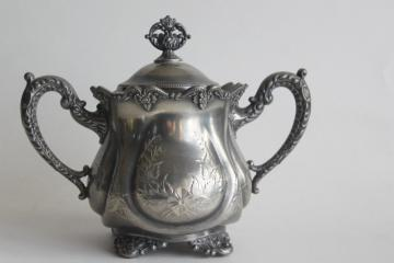 Victorian vintage ornate silver biscuit jar or lump / cube sugar bowl, Webster web mark