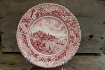 View of Boston Historic America vintage Johnson Bros pink red transferware china plate
