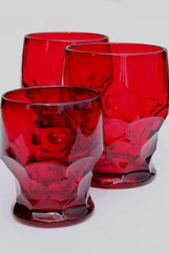 Viking Georgian ruby red glass tumblers / juice glass, vintage drinking glasses lot