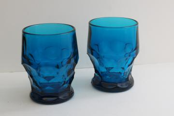 Viking bluenique blue Georgian pattern glass tumblers, vintage drinking glasses