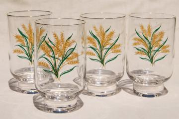 Viking gold wheat golden harvest pattern drinking glasses, vintage tumblers set