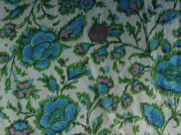Vintage 40's cotton fabric, blue roses