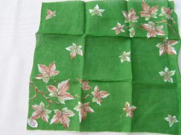 Vintage 50's print linen hankie, leaves on green