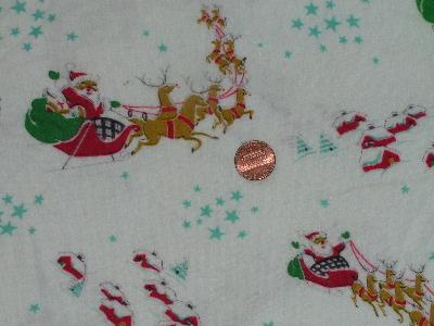 Vintage Christmas print cotton flannel fabric, Santa!