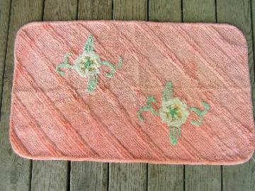 Vintage cotton chenille rug, floral roses
