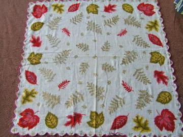 Vintage cotton hankie, autumn leaves