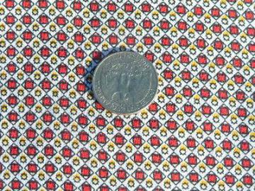 Vintage cotton quilting fabric, tiny print, yellow & red