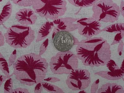 Vintage feed sack fabric, 40's flowers in pink!