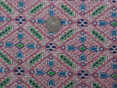Vintage feed sack fabric, geometric on pink