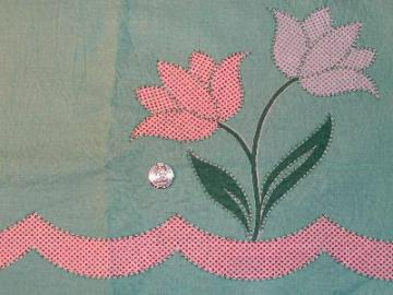 Vintage feed sack fabric, tulips border print on aqua