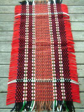 Vintage hand woven felt throw rug
