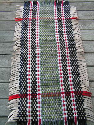 Vintage hand woven wool felt throw rug