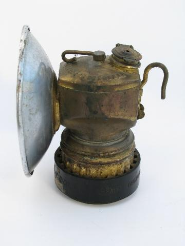 Vintage Old Brass Justrite Mineru0027s Carbide Lamp Helmet Light,  Spelunker/caver Lantern