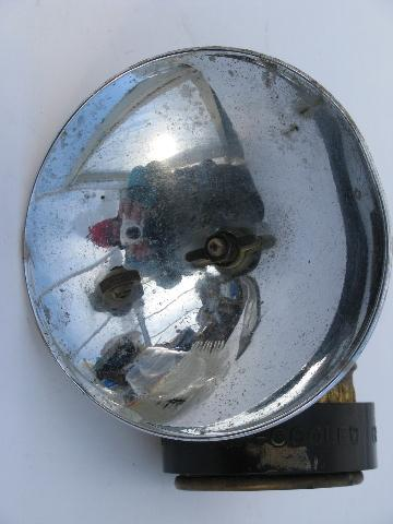 Vintage old brass Justrite miner's carbide lamp helmet light, spelunker/caver lantern