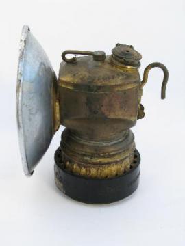 Vintage old brass Justrite miner's carbide lamp helmet light, spelunker/caver lantern