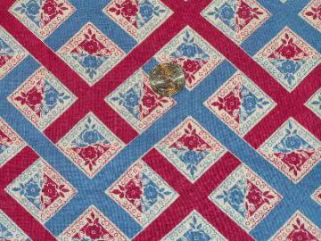 Vintage print feed sack fabric, wine/blue flowers