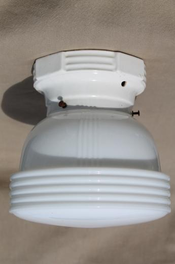 Vintage schoolhouse pendant light art deco lighting fixture w milk vintage schoolhouse pendant light art deco lighting fixture w milk glass shade aloadofball Image collections
