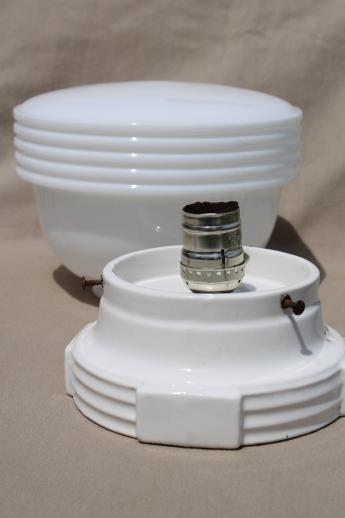 Vintage schoolhouse pendant light, art deco lighting fixture w/ milk glass shade