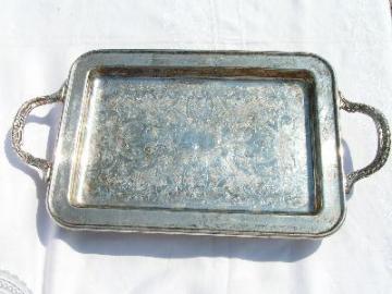 Vintage silver plate vanity tray