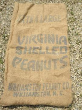 Virginia peanuts bag, vintage Williamston North Carolina burlap sack