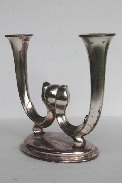 WMF era silver plate trophy, deco mod branched candle holder w/ 1950s vintage inscription