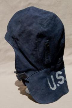 WWI - WWII vintage US Navy wool helmet, flyer's uniform gear for flight deck or pilot