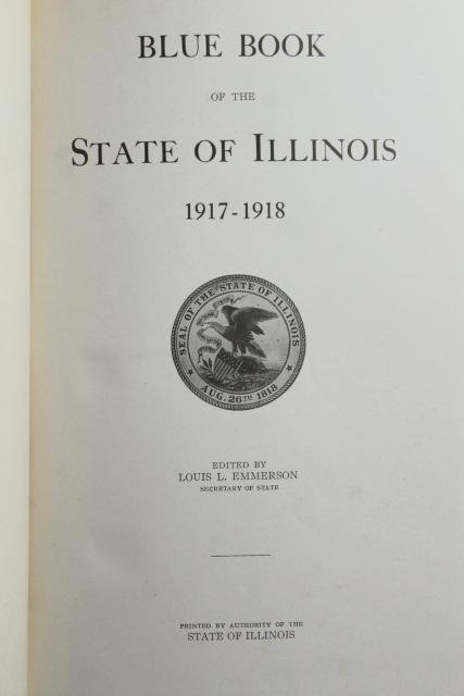 WWI vintage State of Illinois Blue Book 1917-1918 antique yearbook 100 years old