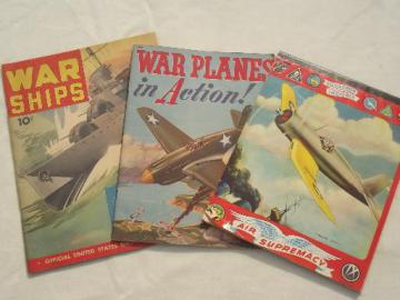 WWII War Planes, War Ships 40s vintage boys books & writing tablet