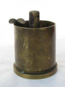 WWII brass shell trench art ashtray German u-boat submarine U-515 1944