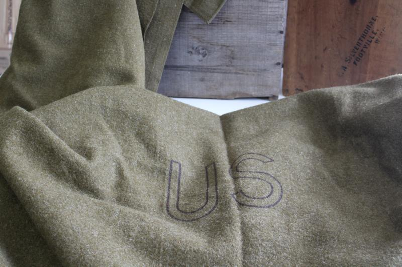 WWII or Korean war vintage military issue summer & winter weight wool US Army blankets
