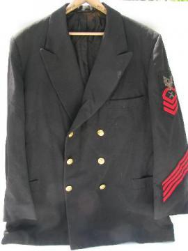 WWII vintage Chief Gunner's Mate uniform coat, bullion eagle patch