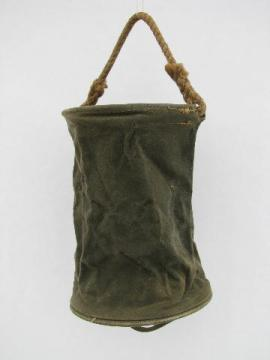 WWII vintage US Military rope handle canvas bucket