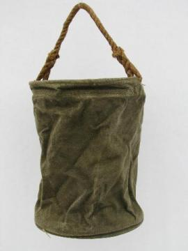 WWII vintage US Navy military canvas bucket rope handle