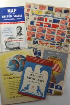WWII vintage ephemera, 1940s map showing military posts, story of US flags & insignia