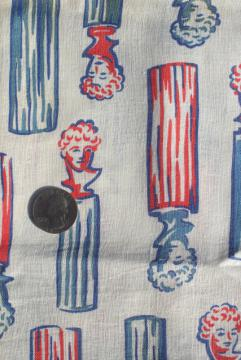 WWII vintage feedsack fabric, Victory women print female bust heads red white blue