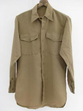 WWII vintage, khaki/tan US military officer or soldier's wool uniform shirt