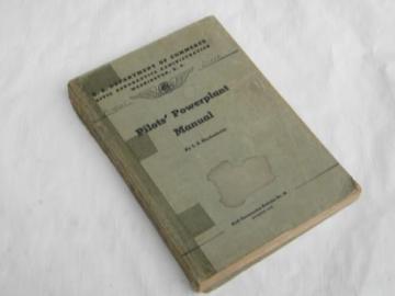 WWII vintage pilots' airplane powerplant engine manual w/photos