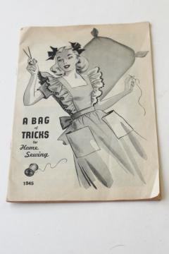 WWII vintage sewing pattern leaflet, feedsack fabric projects, thrifty tricks & tips